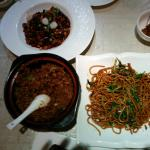 Fried noodles with beef, pork
