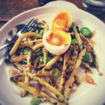 Sauteed beans and duck egg