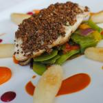 'Catch of the Day' with a pecan crust and, festive vegetables, candied carrot pure