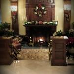 Tiffany Fireplace in sunken lobby at Madison Hotel looks especially festive