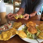 Killer ceviche & guacamole with mind blowing fried plantain pancakes