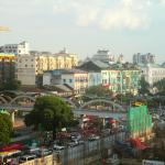 View from my room on the 4th floor. The road that can be seen is Sule Pagoda Road.