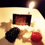 Part of the special Birthday Dessert--add a chocolate-covered strawberry and a truffle!!  Delici
