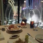 Fine Italian dinner with front roll seats of the fountain show. ♧ ♢ ♡ ♤