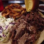 Beef, pork and sides. Delish. Chopped and pulled right in front of you. Juicy is am understateme