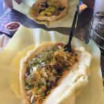 Indian Taco front and green chili behind