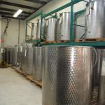 Beautiful stainless steel vats for wine.