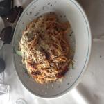 Spaghetti with jerk sausage