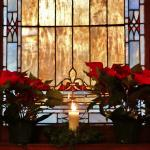 Beautiful Christmas decorations and stain glass windows