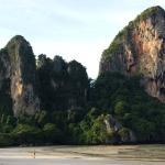 The limestone cliffs that border the Railay Beach