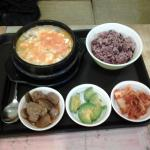 Tofu Soup with brown rice & side dishes (soup a bit bland suitable for those who prefers light m