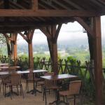 Outdoor dining area overlooking Vezere River Valley