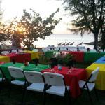beach front wedding rehearsal buffet