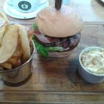 Brie and bacon burger with skin on fries. Brill.