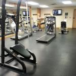 The gym at Douglas Fir. At least 3 movie channels available for workout.