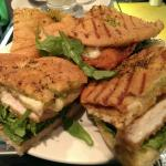 My tasty lunch - crispy foccacia, home made chicken escalope with crunchy rocket and home made c