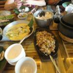 Sisig, fish in coconut sauce, sinigang sa bayabas