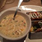 Corn chowder and mini chicken and Filet Mignon tacos
