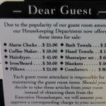 Guest Room Amenities Price List