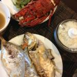 Lobster and fish dinner (utensils from Quest)