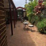 Had breakfast out in courtyard, secluded and peaceful. Sue &  Rob
