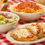 Chicken Parmesan, Spaghetti with Meat Sauce, and salad