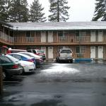 Vista dos quartos em dia de neve