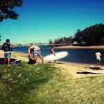 Free Paddle board lessons behind the Backpackers
