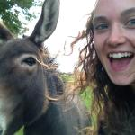 Picture with one of the donkeys