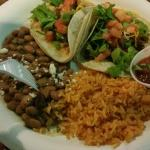 Chicken combo (two tacos) rice and beans