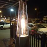 Funky gas firepit greets you at the door...