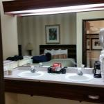Nice big mirror and Double sinks. Just wish there was a separate table for the coffee maker and