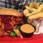 Holiday turkey burger with herb garlic fries