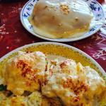 Crab cake bene and banana/chocolate chip pancakes!