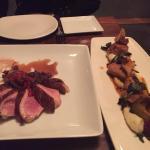 Os pratos principais, pato e vitela.