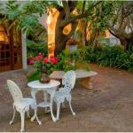 Beautiful garden with furniture in the cool shade