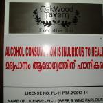 health warning outside bar