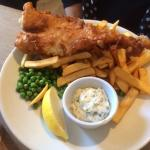 fish and chips and peas