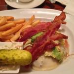 Cheese burger, no bun, avocado and bacon