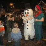 Saying hi to Frosty and the Gingerbread man