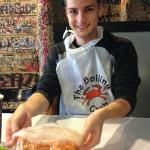 My boyfriend getting ready to eat our shrimp