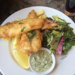 Fish chips and salad