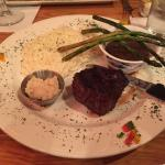 Filet and horseradish mashed potatoes