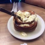 Giant cinnamon rolls. Smothered in butter and icing