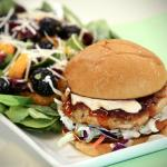Salmon Burger with Baby Spinach Salad