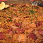 Paella with chorizo, pork and chicken