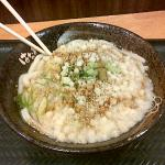 A bowl of 'kake udon' with tempura batter and lashings of grated ginger & wasabi