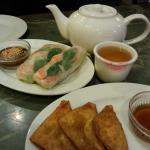 Jasmine Tea, Spring rolls with peanut sauce and Cream Cheese Wontons