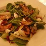 Pear and Blue salad, plus grilled shrimp