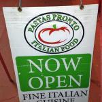 Pastas Pronto Sign